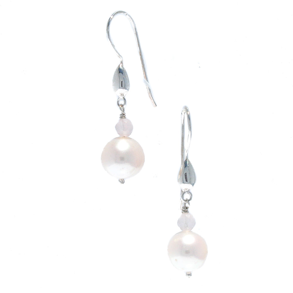 SEA DREAMS PEARL EARRINGS ROSE QUARTZ