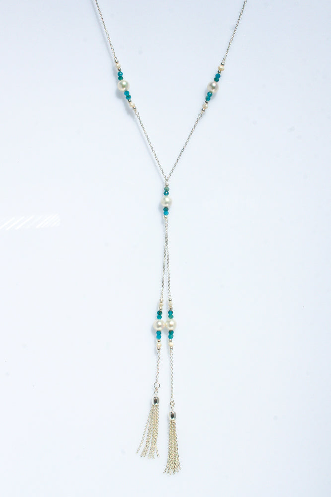 SEA DREAMS PEARL TASSEL NECKLACE BLUE APATITE