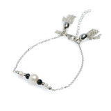 SEA DREAMS PEARL TASSEL BRACELET BLACK GARNET
