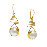 STAIRCASE TO THE MOON MABE EARRINGS GOLD