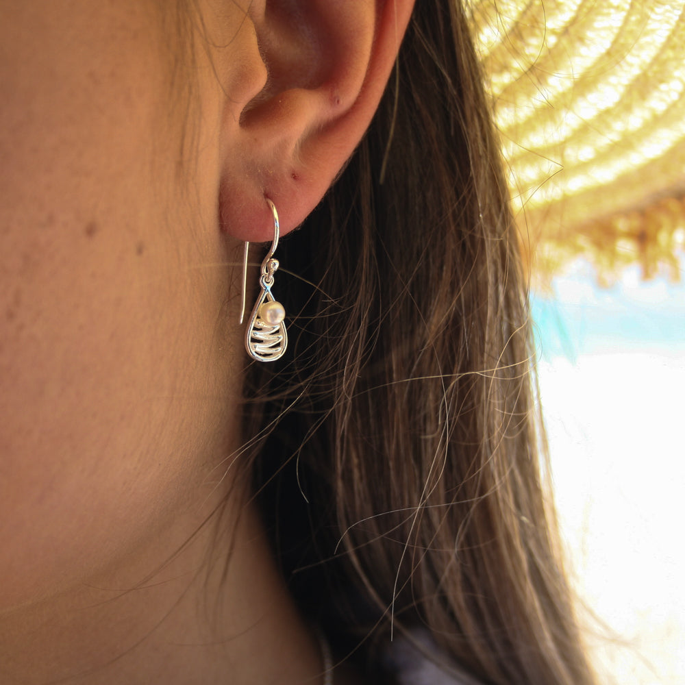 STAIRCASE TO THE MOON TEAR DROP PEARL EARRINGS