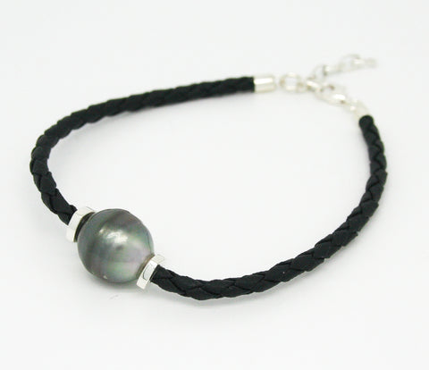 JASON TRIPLE PEARL BLACK BRAID  BRACELET