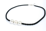 TARRYN TRIPLE PEARL BLACK BRAID  NECKLACE