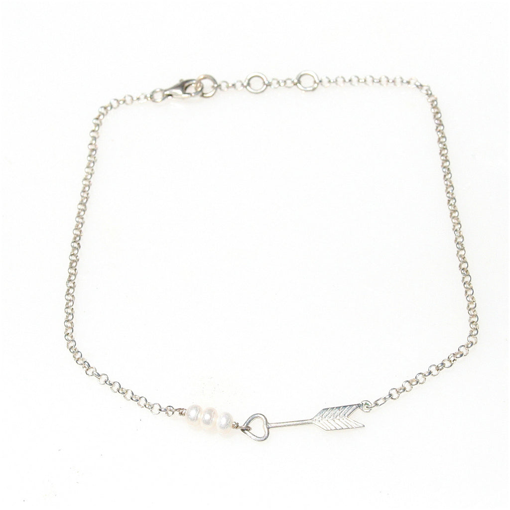 LOVE ARROW PEARL STERLING SILVER ANKLET