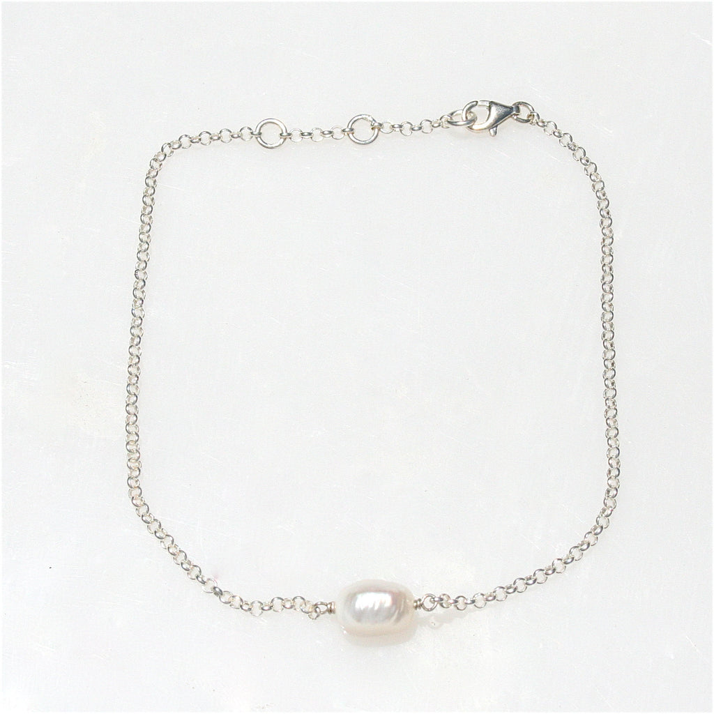 STERLING SILVER KESHI PEARL ANKLET
