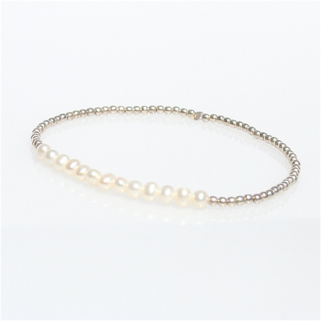CABLE BEACH SANDS PEARL & STERLING SILVER BALL STRETCH BRACELET