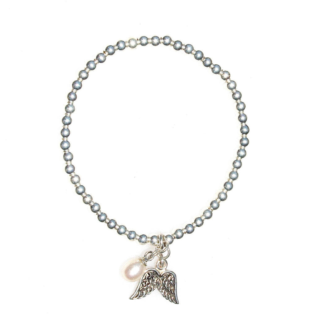 STERLING SILVER STRETCH BRACELET WITH PEARL & ANGEL WINGS
