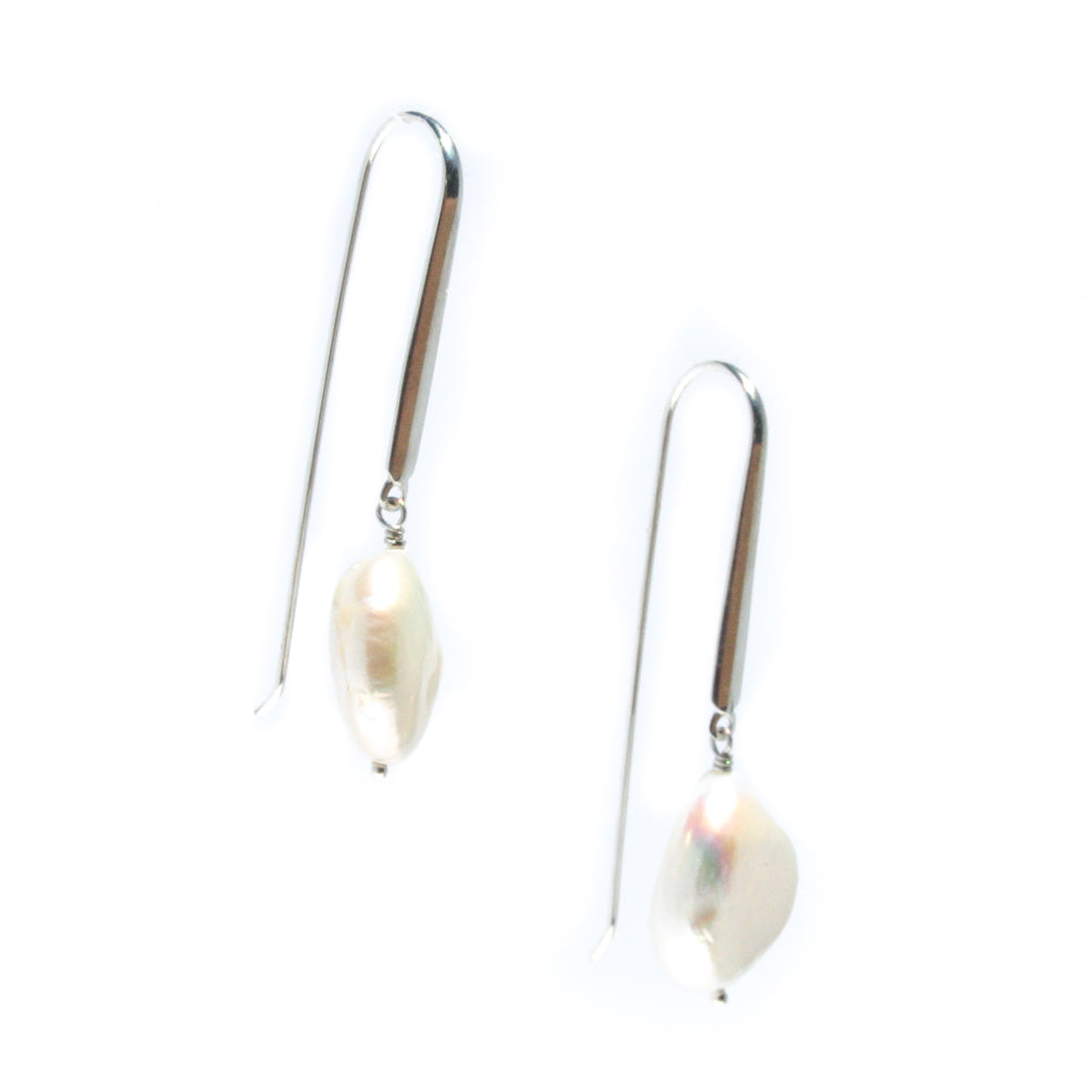 baroque pearl sterling silver hook earrings
