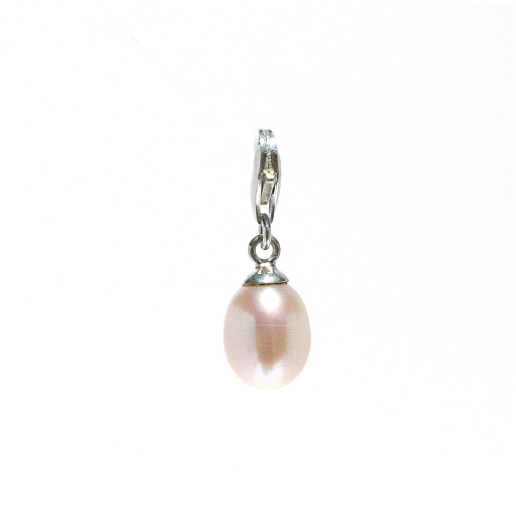 PINK PEARL CHARM ON STERLING SILVER LOBSTER CLASP
