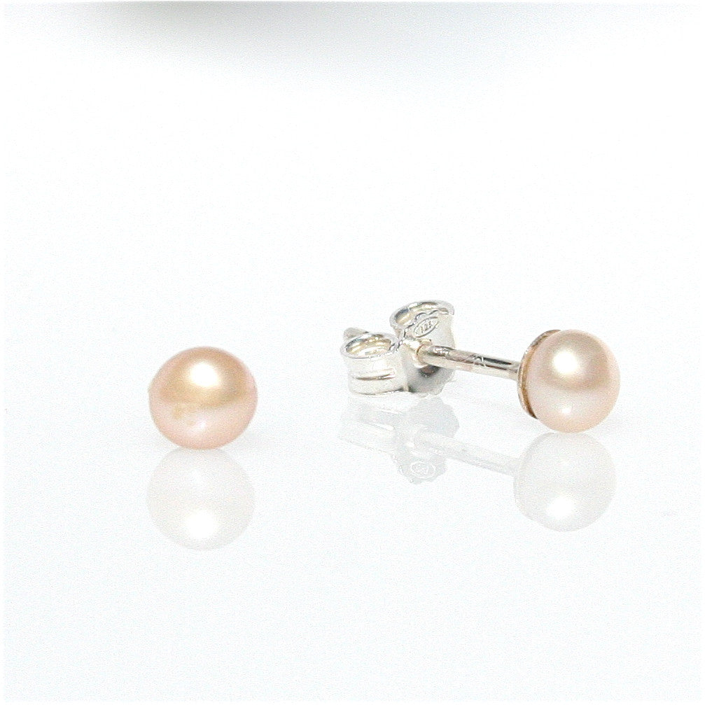 PINK PEARL STUDS  4 mm