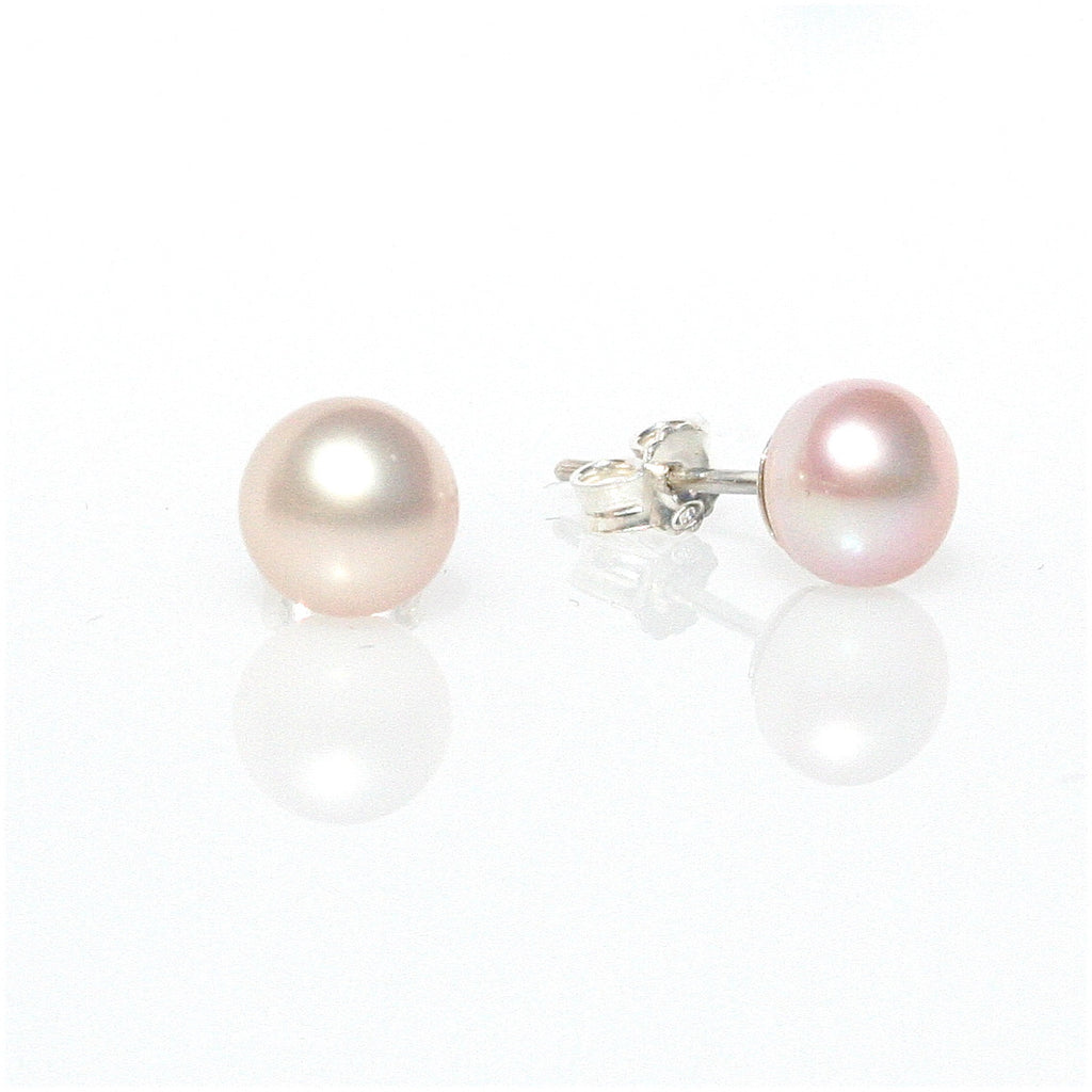 PINK PEARL STUDS  6 mm