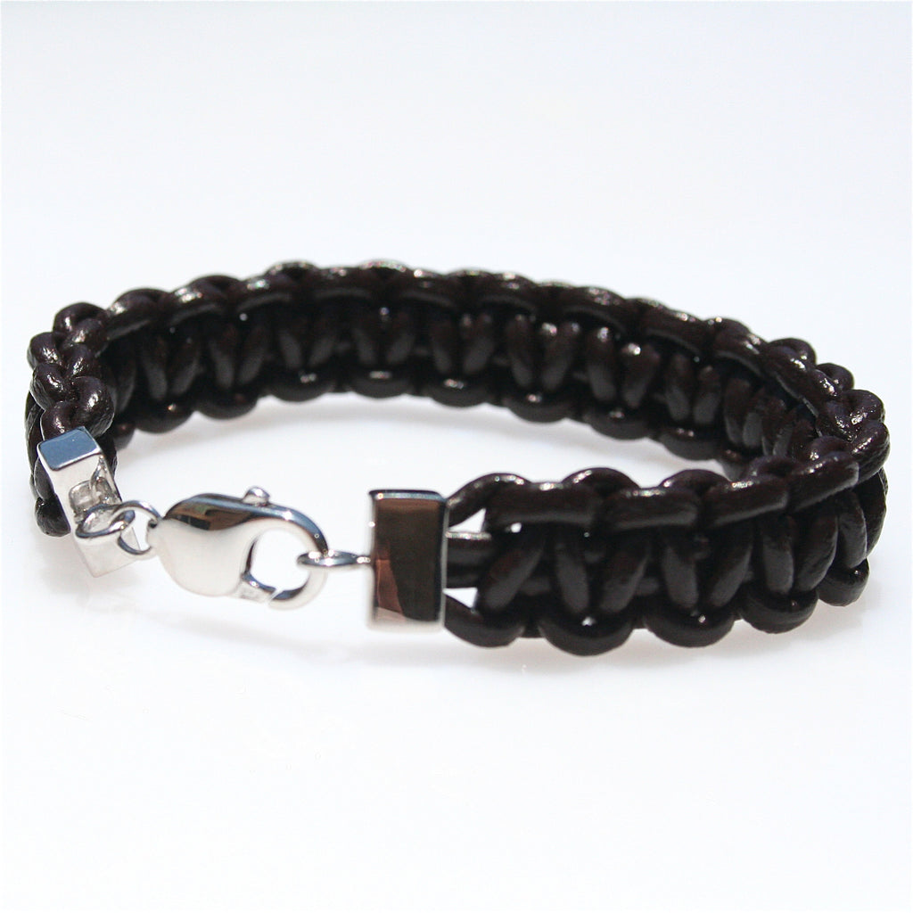 MENS BLACK LEATHER BRAID & STERLING SILVER BRACELET