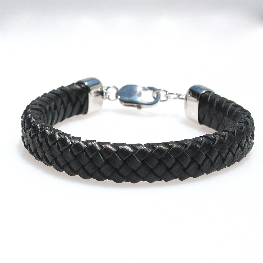 MENS BLACK BRAID LEATHER & STERLING SILVER BRACELET