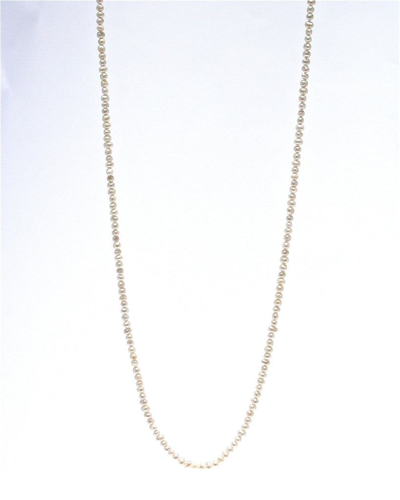SEED PEARL NECKLACE 90CM WITH STERLING SILVER LOBSTER CLASP