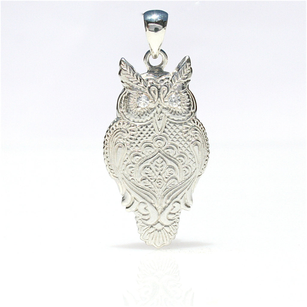 WISE OWL STERLING SILVER PENDANT