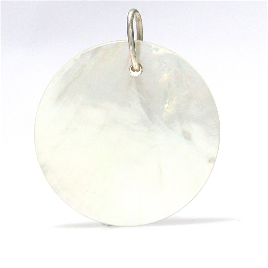 MOTHER OF PEARL MOON DISC PENDANT