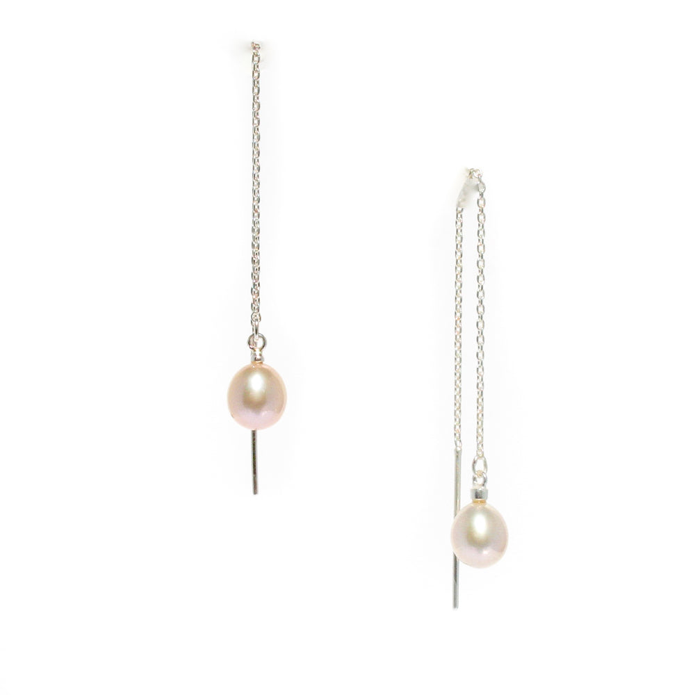 TIFFANY PEARL THREAD EARRINGS SUNSET PINK