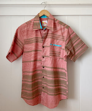 Button Down Aloha Shirt | Kapa - salmon