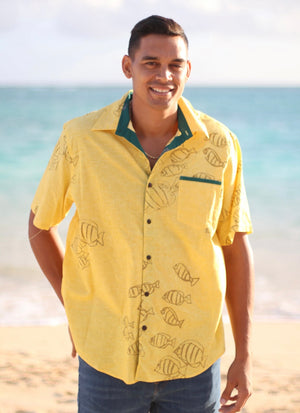 Button Down Aloha Shirt | Manini - yellow