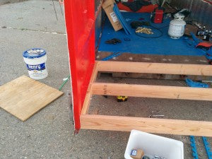 The base of our new container porch.