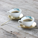 Espresso Cups with Metal Saucer and Spoon