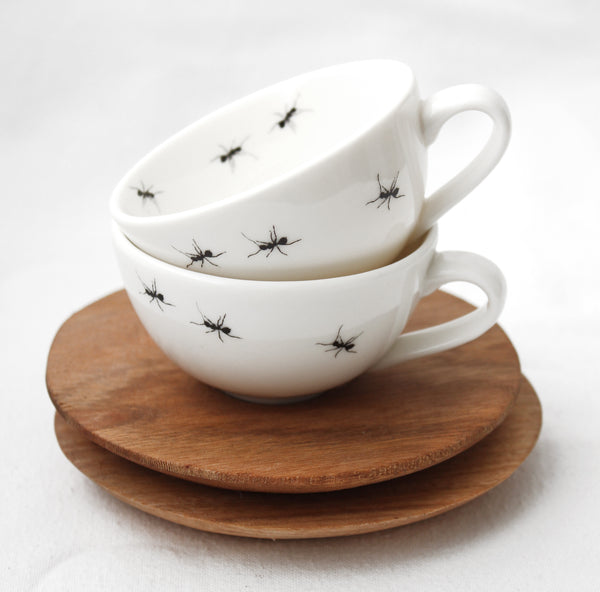 Espresso Cups with Wooden Saucer
