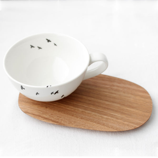 Large Cup and Wooden Saucer