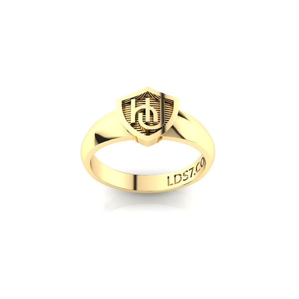 HLJ Embrace Shield Ring. Escudo Abrazo, 14K #843