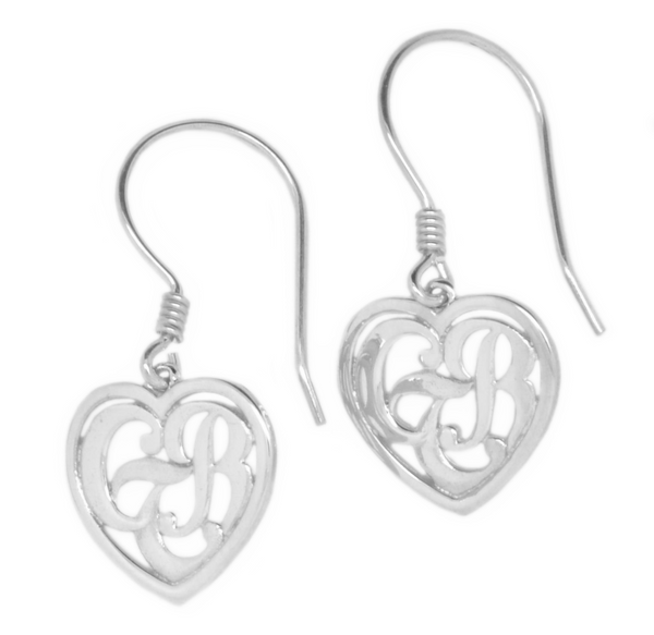 CTR Heart Earrings, Framed, Silver #125