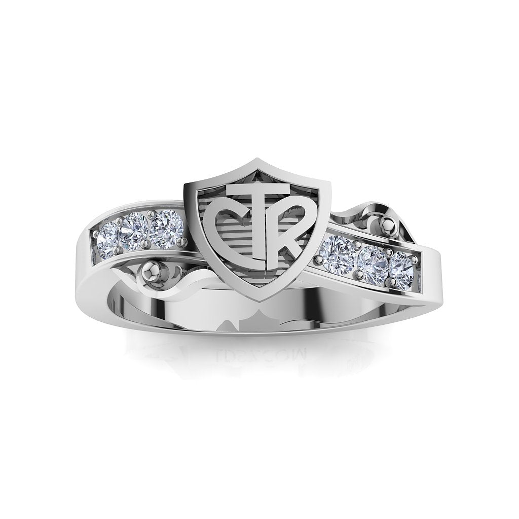CTR Shield Scroll Ring, Stone-set, Silver #403