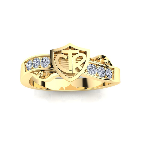 CTR Shield Scroll Ring, Diamond-set, 14K #403
