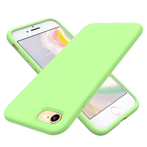 Liquid Silicone Case compatible with iPhone 8/7,  iPhone SE 2020 4.7 inch. The Case is made from liquid silicone that provides a soft feel and has a more comfortable grip. It covers the whole phone - including the bottom and buttons. Raised lip helps protect the screen and camera against scratches from direct surface contact. Green