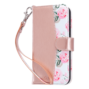 Rose Gold Flower Premium PU leather wallet case with a detachable wrist strap specially designed only for iPhone 12 / iPhone 12 Pro (2020) store cards and cash for daily use. Strong magnetic closure secure the full body protection while the kickstand hold the device with multi-angles, convenience for video watching with hands free.