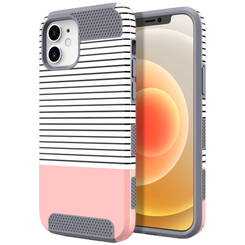 Dual Layer Style Case for iPhone 12/12 Pro (Rose Gold Stripes)