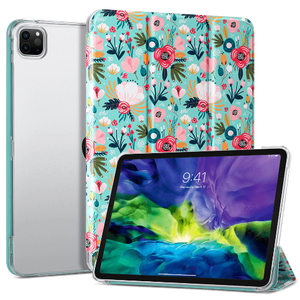 Floral Pattern 11 Inches PU Leather Folio Smart Stand Cover designed for  iPad Pro 11 inch 2020 2nd Generation and iPad Pro 11 inch 2018, Not fit other iPads premium PU leather with soft microfiber lining and clear back cover provides protection against fingerprints and scratches Auto wake & sleep function in use