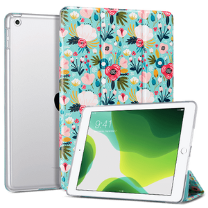 Ulak Flora Pattern 9.7 Inches PU Leather Folio Smart Stand Cover designed for 6th generation 2018 (Model: A1893,A1954) 5th generation 2017(Model: A1822,A1823) Not fit other iPads premium PU leather with soft microfiber lining and clear back cover provides protection against fingerprints and scratches Auto wake & sleep function in use