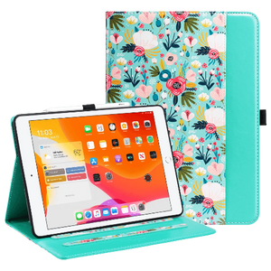 Floral Pattern 10.2 Inches PU Leather Folio Smart Stand Cover with Pencil Holder & Pocket designed for  iPad 7/iPad 8, Not fit other iPads. Soft TPU back shell protect your iPad 7th/8th Generation from shocks, drops and impacts. Premium PU leather exterior prevent your tablet from scratched.  cute designed look a perfect gift idea