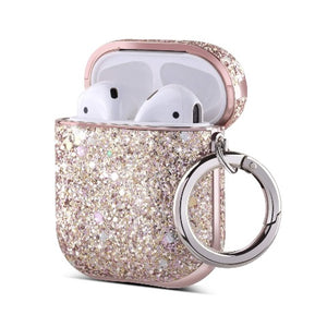 Ulak PU leather glitter case compatible with Apple AirPods 1st and 2nd generation. Precise cutouts enable wire charging with case on. It support wireless charging; Front LED is visible when charging. cute glitter case attached with a carabiner, ideal gift for girls and women; Includes 1 x AirPods 1/2 Gen Case 1 x Carabiner