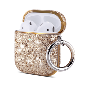 PU Leather Glitter Case for Apple AirPods 1 & 2 with 1 Carabiner - Ulakcases