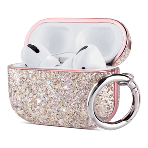 Ulak PU leather glitter case compatible with Apple AirPods Pro (2019) Precise cutouts enable wire charging with case on. Support wireless charging without interference; Front LED is visible when charging Cute glitter case attached with a carabiner, ideal gift for girls and women; Includes 1 x AirPods Pro Case, 1 x Carabiner