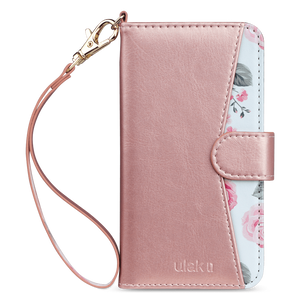 Premium PU leather wallet case with a detachable wrist strap specially designed only for iPhone 7 (2016) store cards and cash for daily use. Strong magnetic closure secure the full body protection while the kickstand hold the device with multi-angles, convenience for video watching with hands free.  Rose gold color with floral pattern