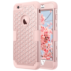 Rhinestone heavy duty case ideal for Apple iPhone 6 Plus (2014) and  6s Plus (2015) 5.5 Inches. Hard PC back cover with crystal rhinestones + flexible Silicone inner core  protect the device from drops, scratches and chips from accumulating; responsive buttons and precise cutouts for easy access to all functions.