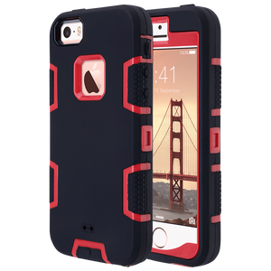 Triple Layers Sturdy Case for Apple iPhone 5 (2012), 5S(2013), SE(2016), Not fit other iPhones. Hybrid hard scratchproof soft TPU inner case provides maximum protection for your phone. Red and black color