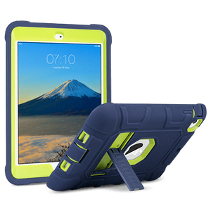 Ulak Triple Layers Sturdy Case for Apple iPad Mini 1/2/3 7.9 inches (2012/2013/2015) Model: A1599, A1600, A1489, A1490, A1491, A1432, A1454 and A1455; Not fit other iPads hybrid hard scratchproof PC interior with soft shockproof silicone exterior kids friendly easy for carrying Raised bezel protect the screen when face down (Blue+ Lime Green)