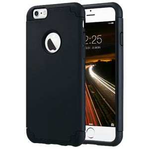 Black Color Hybrid slim dual layer protective fit for Apple iPhone 6 / 6S 4.7 inch, Will Not Fit any other device; made from Polycarbonate hard back cover+ flexible Silicone inner core dual layer protection from scratches and chips from accumulating.