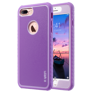 Purple color Hybrid slim dual layer protective fit for Apple iPhone 7 Plus 5.5 inch, Will Not Fit any other device; made from Polycarbonate hard back cover+ flexible Silicone inner core dual layer protection from scratches and chips from accumulating. ideal gift idea for girls home office use for women