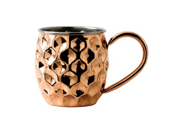 Soiree Solid Copper Dented Cocktail Mug with Nickel Lining 480ml