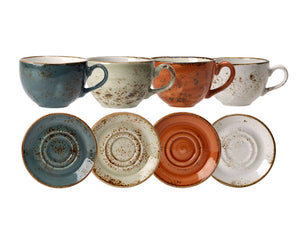 Rustic Craft Large Tea Cups & Saucers 12oz With Mixed Décor, Set of 4