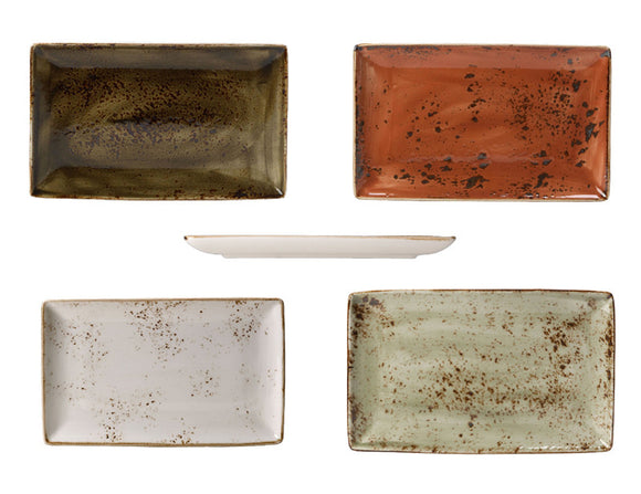 Rustic Craft Rectangular Plates 27cm With Mixed Décor, 4 Piece