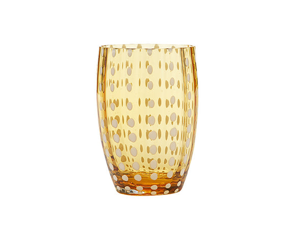 Zafferano Perle Tumbler Glass Amber 320ml, Set of 6